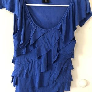 attention Tops - Blue ruffle blouse